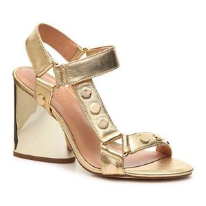 NIB Halston Heritage Gold Leather Studded Sandals